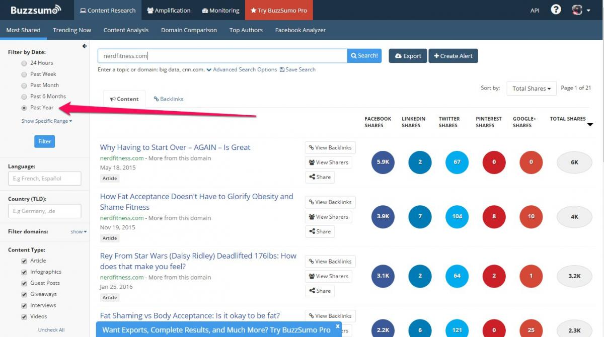 BuzzSumo for Link Prospecting