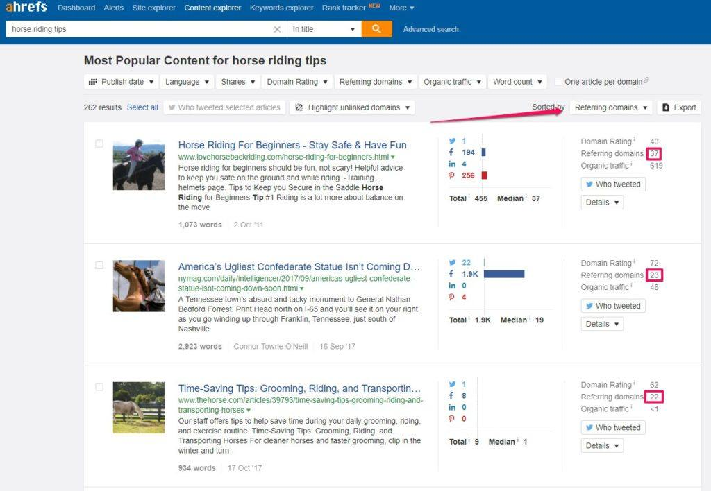 Ahrefs Content Explorer Search by Referring Domains