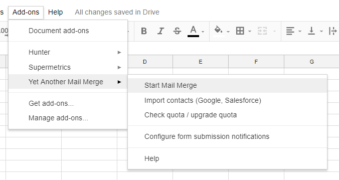 YAMM Email Merge Add-ons